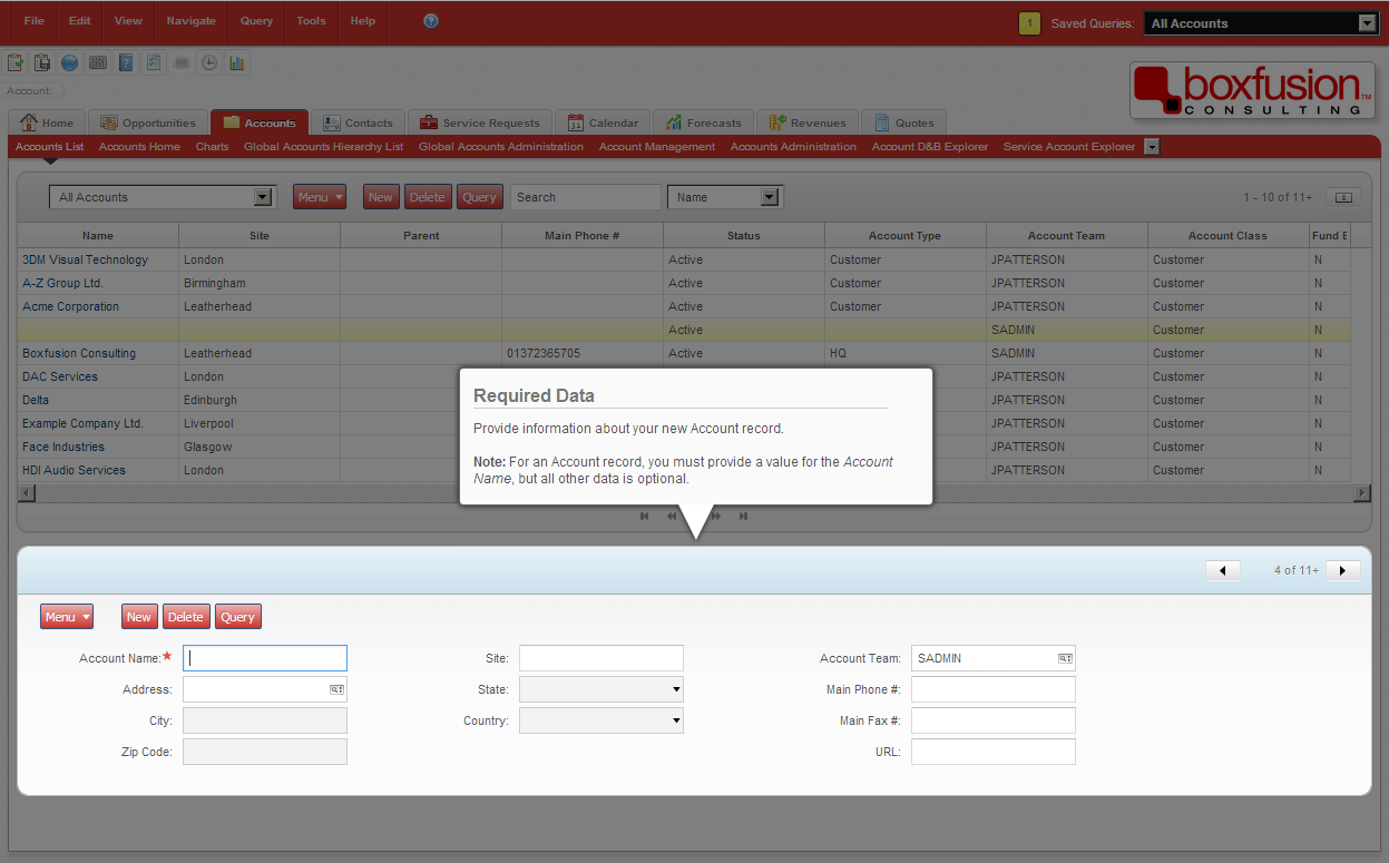 Screenshot of a custom-built Siebel help provider, which highlights elements on the user interface and guides users in order to improve the user experience.
