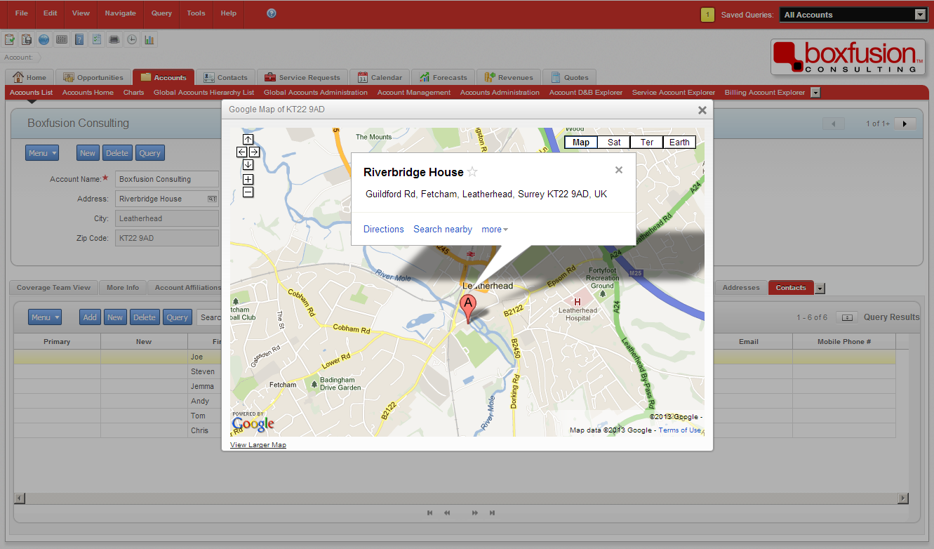 Second screenshot of Google Maps integration with Siebel Open UI