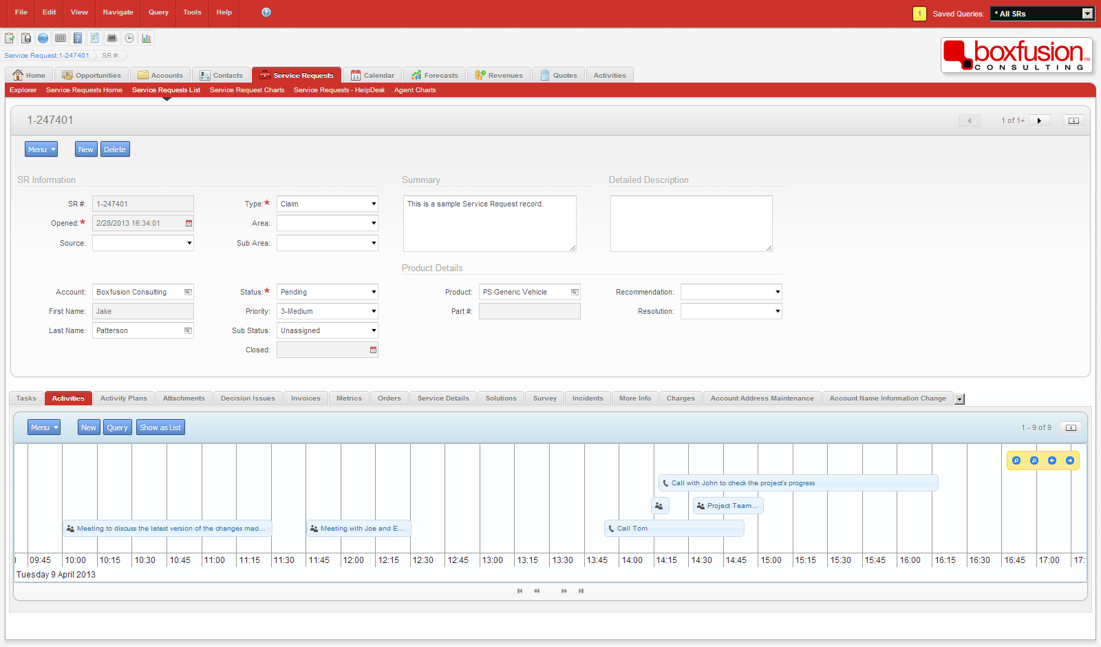 Screenshot of an interactive timeline based applet implemented in Siebel Open UI