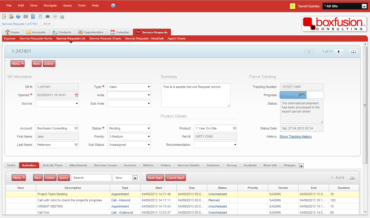 Screenshot of parcel tracking within Siebel Open UI
