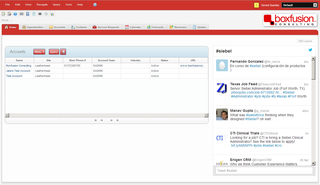 Screenshot of Twitter integration with Siebel Open UI