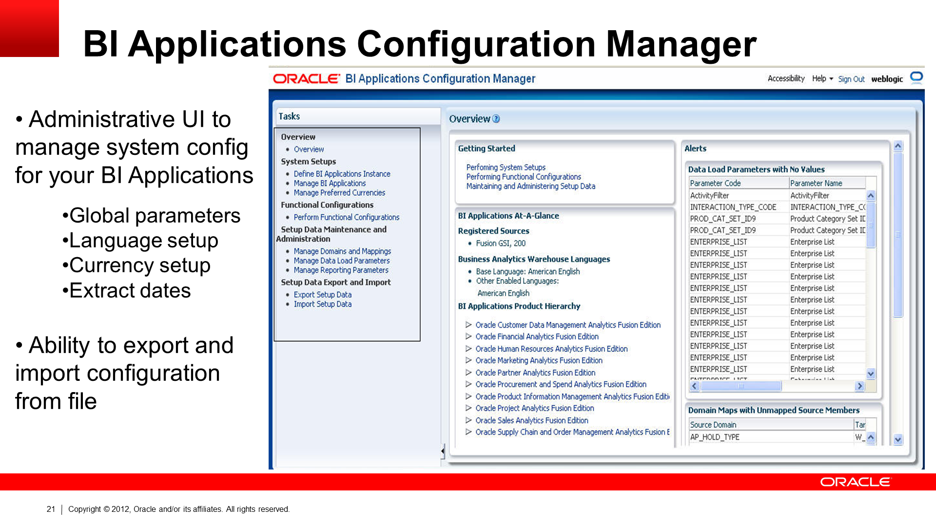 Oracle BI Applications Configuration Manager screenshot