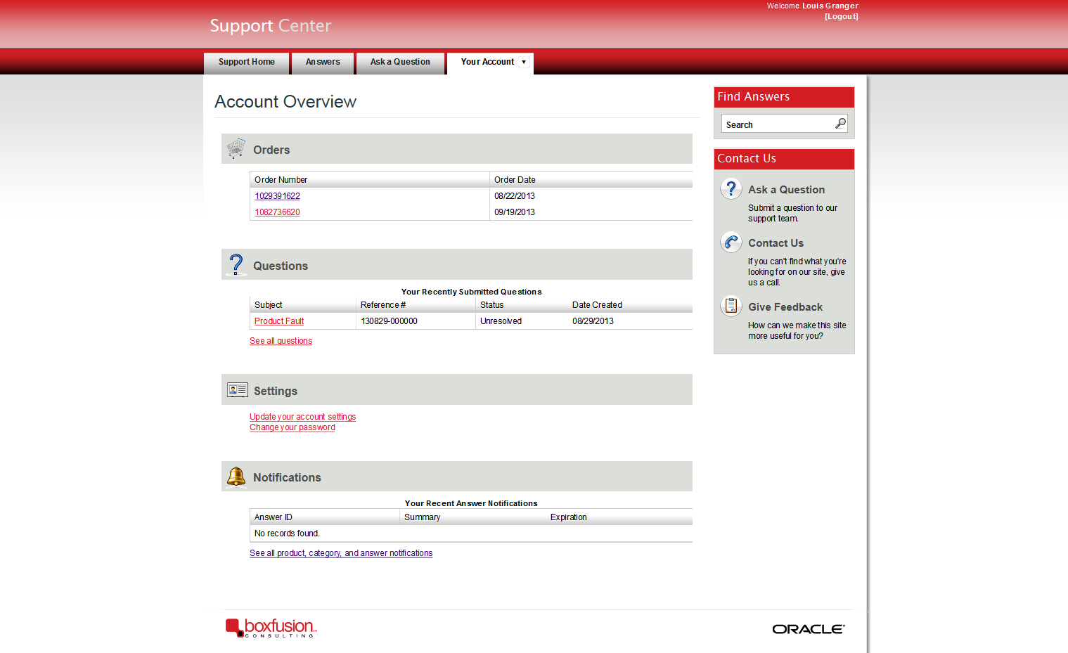 RightNow CX Customer Portal, with the new Opportunities entity displayed.