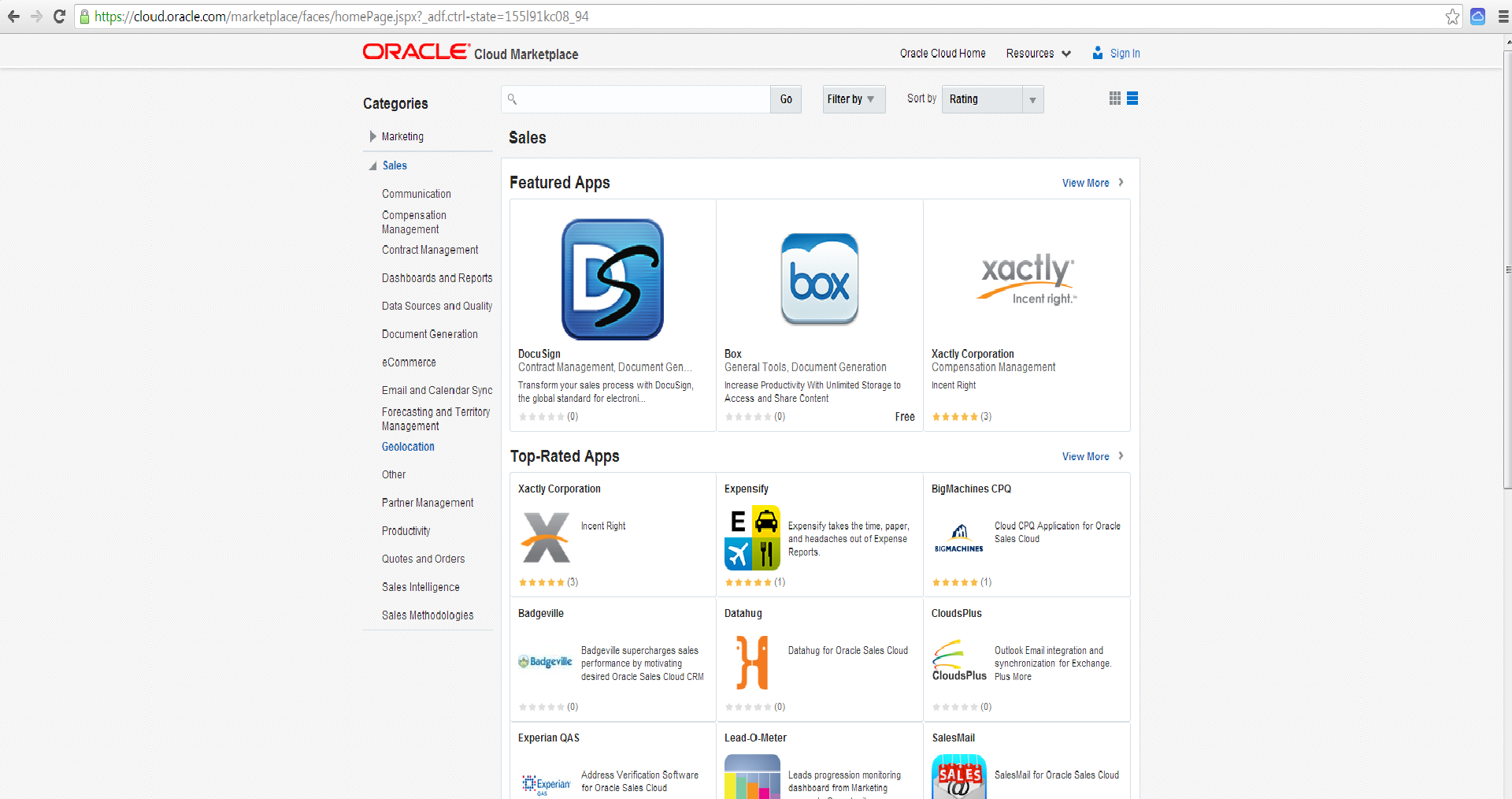 Oracle Sales Cloud Marketplace