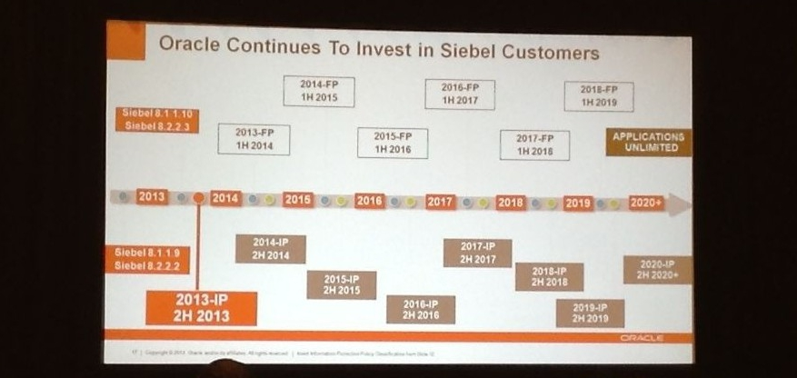 Siebel Roadmap to 2020 and beyond
