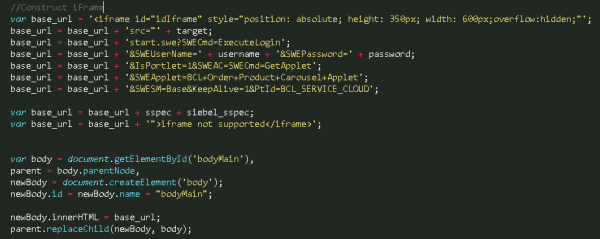 Construction of iFrame URL and appending Siebel Portlet parameters. The HTML/JavaScript mapping does not use JQuery as the Agent Desktop does not support JQuery.