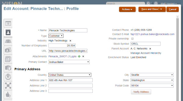 Simplified Account Page on Sales Cloud