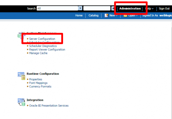 Fig 1 - The BI Publisher administration screen