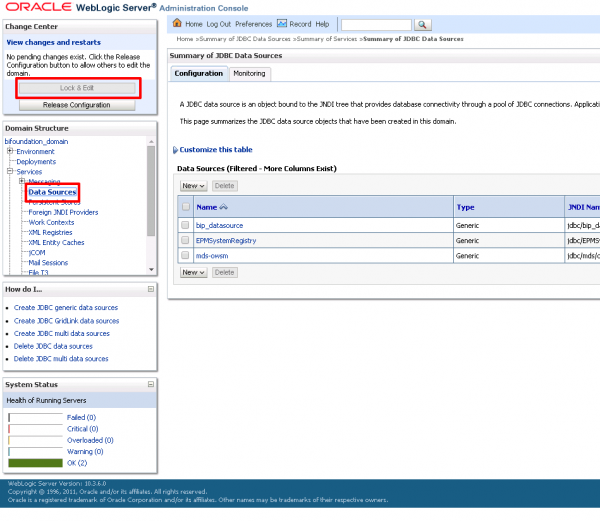 Fig 2 - Adding a new data source in the BI Publisher Administration Console