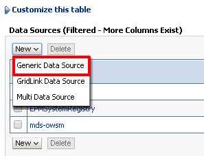 "Fig 3 - Select ""Generic Data Source"" to create a new Oracle data source"