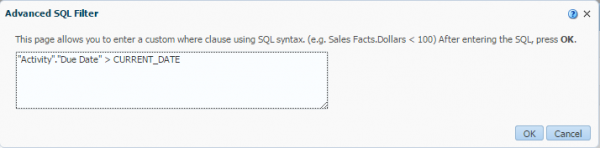 Figure 10 - Defining a Filter through the use of an SQL Statement