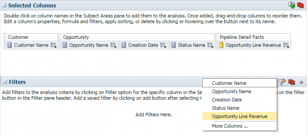 Fiigure 2 - Adding a Filter from the Criteria Tab