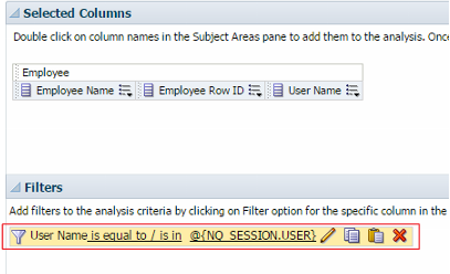 Figure 8 - How filtering on this Session Varible would display in the Critera Tab