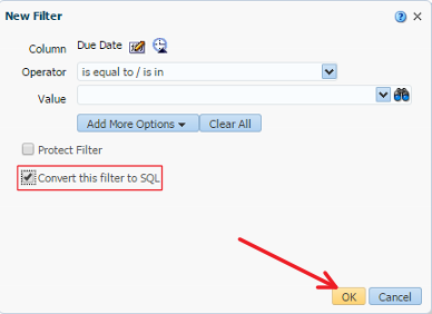 Figure 9 - Converting a Filter to an SQL Statement