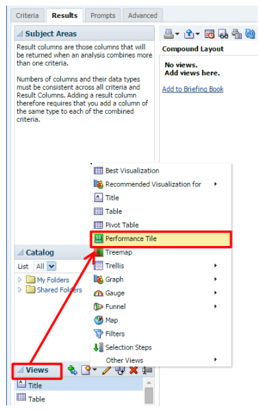Figure 13 - Adding the Performance Tile View