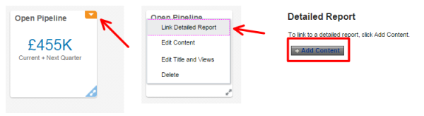 Figure 22 - Linking the report to the Infolet Tile